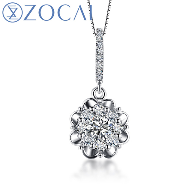 ZOCAI NATURAL LOVE RAY 0.5 CT DIAMOND SOLID 18K WHITE GOLD PENDANT PENDANTS + 925 STERLING SILVER CHAIN NECKLACE D00519