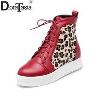 DoraTasia Big Size 33 43 2017 Platform Lace Up Woman Shoes Casual Leopard Print Sneaker Footwear