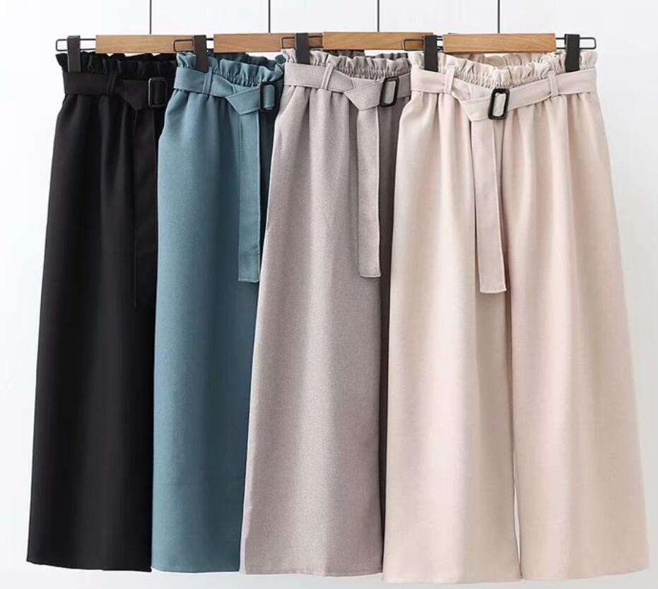 2019 Spring Women High Waist   Wide     Leg     Pants   Belted Women Elegant Loose Trousers