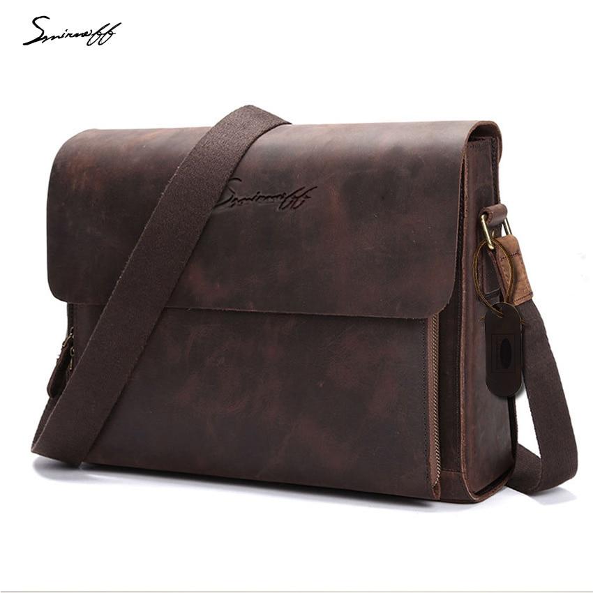 5ffec3438fb9 SMIRNOFF 2017 Crazy Horse Leather Men Messenger Bag Computer Designer  Handbags High Quality Genuine Leather Men Messenger Bag