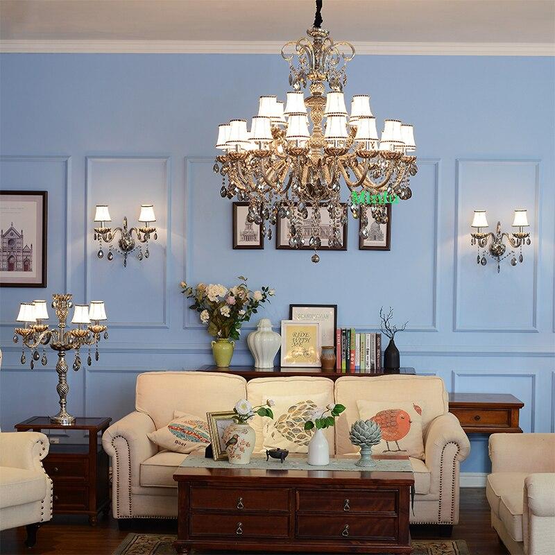ᑎ‰Grand Cristal Lustre pour salon Haut Plafond Cristal Lampe Villa