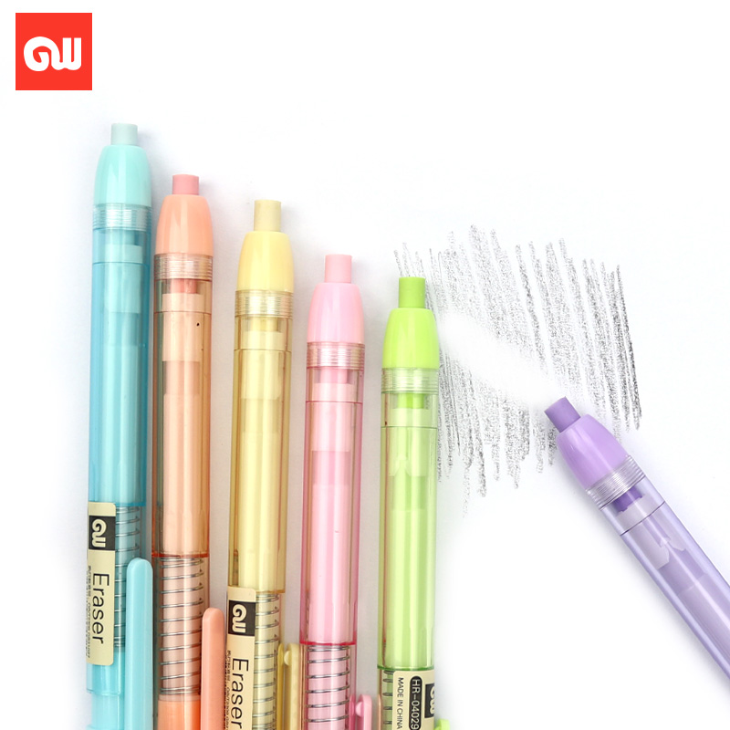 Rubber Pen Single/6pcs Set Art Set Rubber Retractable Stationery Press-type Rubber Pen For School Supplies In 6Colors