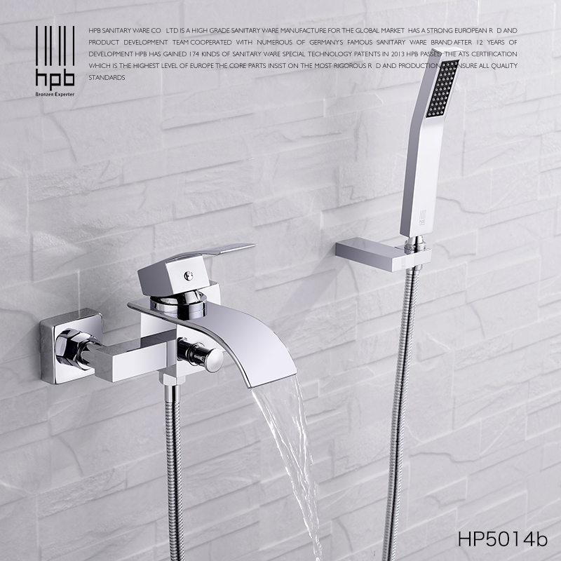 HPB Solid Brass Polish Chrome Waterfall Bathroom Bathtub Bath & Shower Faucet Set Hot And Cold Mixer Tap One Handle HP5014 original ijoy saber 100 kit with 5 5ml diamond subohm tank 100w saber 20700 battery box mod electronic cigarette