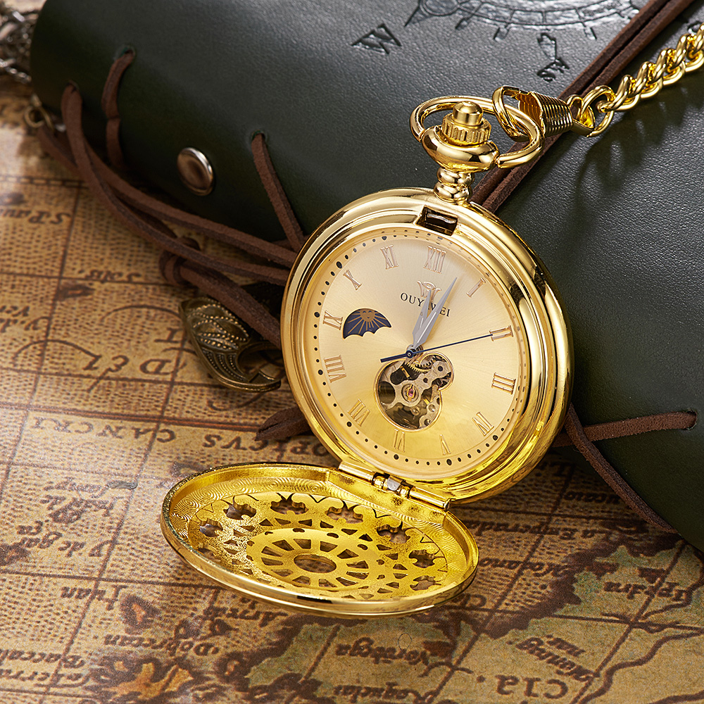 Montre Homme Relogio Luxury Brand OYW Mechanical Hand Wind Pocket Fob Watch Men Male Pocket Watch Men Steampunk Full Steel Case