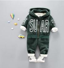 Letter Printed Hooded Children's Set 2019 Winter Baby Clothes Suits Plus Velvet Thick Warm Baby Boy Girl Clothes SY-F175212