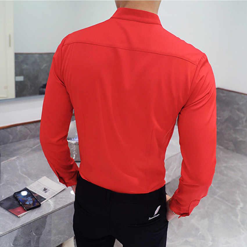 Осенне-зимний воротник-стойка, мужская рубашка с длинными рукавами, черный, красный, белый, тонкий элегантный молодежный Мужской для работы, свадьбы строгие рубашки