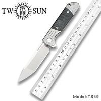 TwoSun d2 blade folding Pocket Knife tactical knives hunting Knives Titanium Carbon Fiber Fast Open Pocket Folder Knife TS49