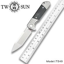 TwoSun d2 ostrze składany kieszonkowy nóż noże taktyczne noże myśliwskie tytanu z włókna węglowego szybko otwarty Folder kieszonkowy nóż TS49 tanie tanio TWSUN Metalworking CN (pochodzenie) TC4 Titanium Inlay Carbon Fiber Składany nóż 59HRC KVT ceramics ball bearings Brown box