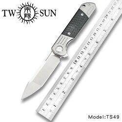 TwoSun d2 ostrze składany kieszonkowy nóż noże taktyczne noże myśliwskie tytanu z włókna węglowego szybko otwarty Folder kieszonkowy nóż TS49