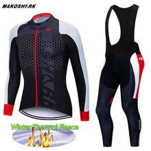 цена на 2020 Winter Thermal Fleece Cycling Set Pro Team Cycling Clothing Warm Bike Wear Jersey Skinsuit MTB Clothes Roupas De Ciclismo