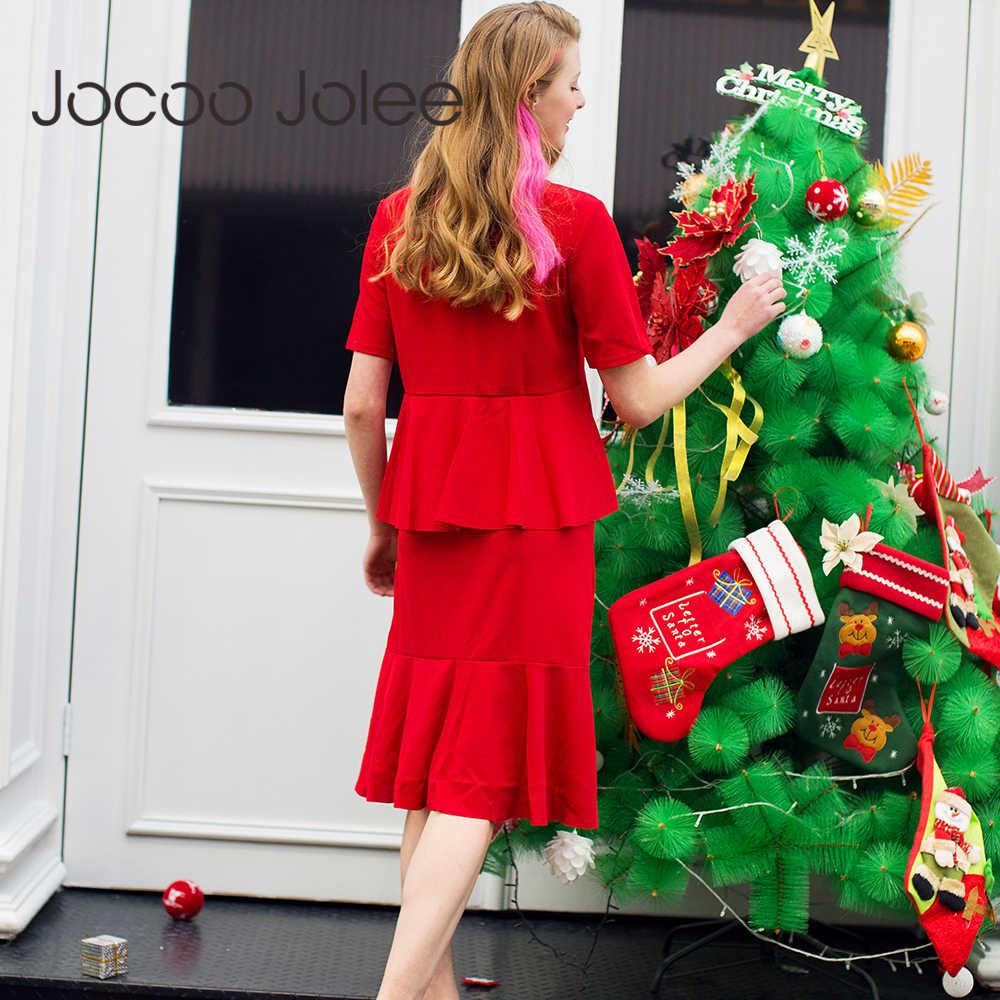 Jocoo Jolee Fashion Week marka sukienka z ciasta podwójne falbany Design sukienka do kolan z krótkim rękawem elegancka sukienka świąteczna 2018 nowość