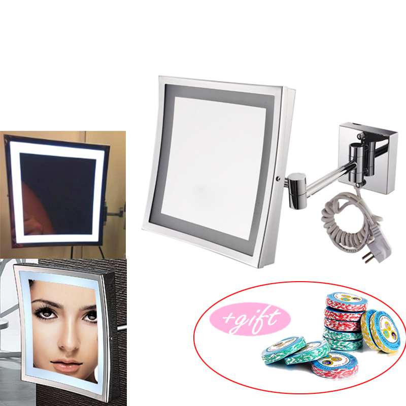 Professional 8.5 Inch LED Light Wall-mounted folding cosmetic mirror 3X Magnifying LED Makeup Mirror bathroom mirror with 12pcs professional 8 inch led light wall mounted folding cosmetic mirror 5x magnifying led makeup mirror bathroom mirror for gift