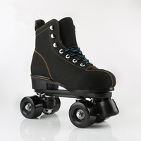 Kids Children Unisex Double Line Indoor Quad Parallel Skates Shoes Boots 4 PU Wheels Black With Brake Breathable Lace up