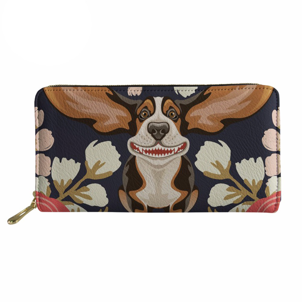 Noisydesigns Purse Women Cartoon Beagles Dog Print Leather Wallets Ladies Long Clutch purses canta Card Holders jane women bag