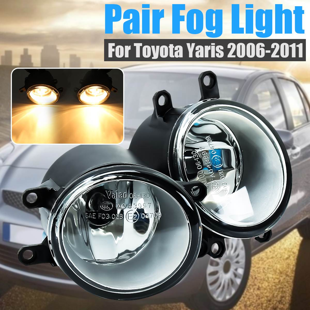2Pcs Left+Right Car Front Clear Fog Light W/ Switch Harness Cover For Toyota Yaris Sedan 4-Door 2006 2007 2008 2009 2010 2011 1set front chrome housing clear lens driving bumper fog light lamp grille cover switch line kit for 2007 2009 toyota camry