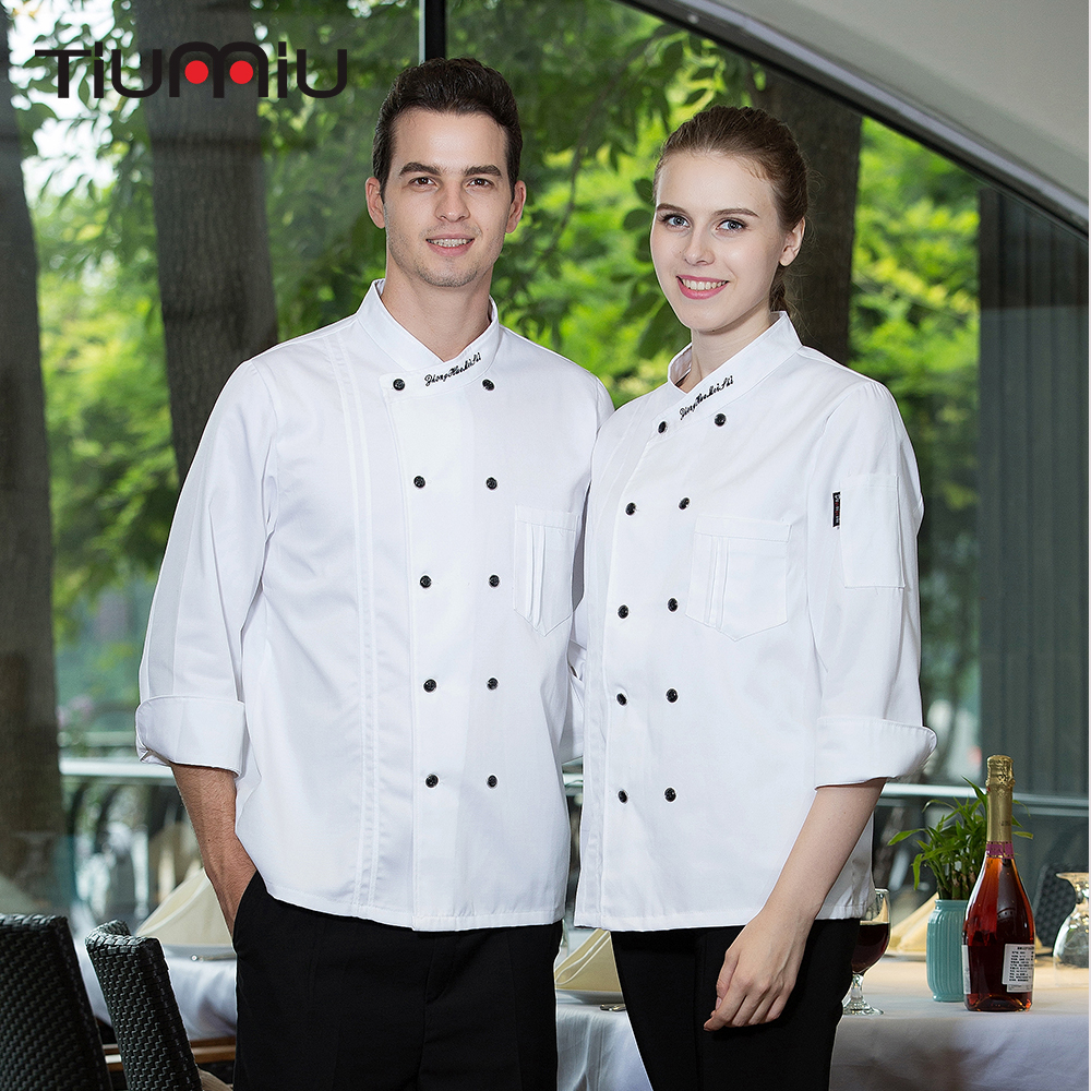 Wholesale Men Women Double-breasted Embroidered Collar Long Sleeves Catering Restaurant Chef Kitchen Cook Wear Coat Chef Jackets