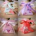 50 pçs/lote DIY Caixa de Doces de Casamento Criativa em Forma de Pirâmide Uma Caixa dois Padrão de Doces Caixa de Doce Amor Especial Do Partido Da Flor Doces caixa