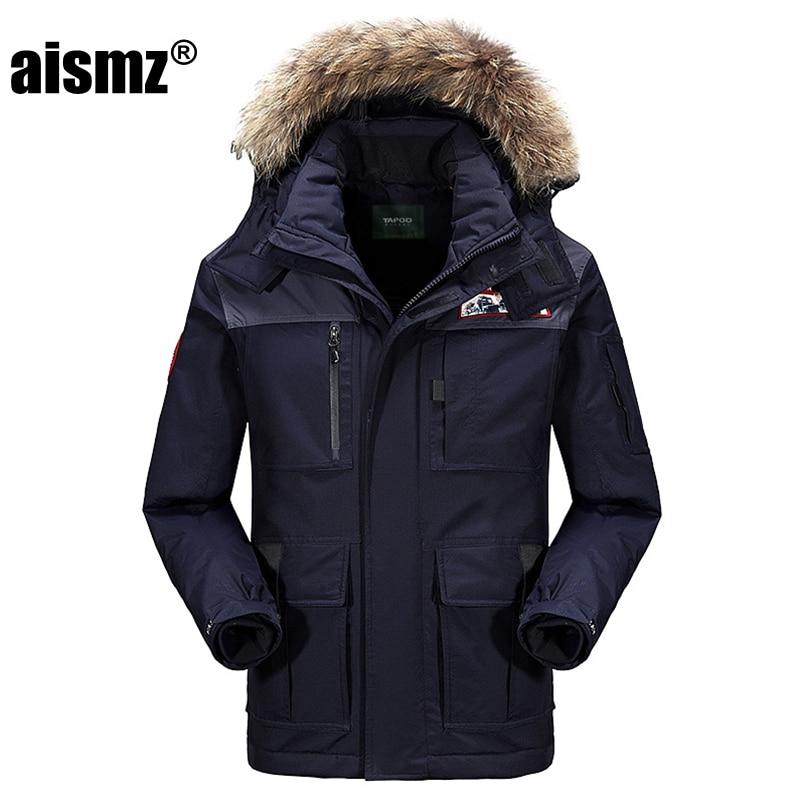Aismz новая зимняя куртка на 80% утином пуху, мужские зимние пальто с меховым воротником, толстая ветровка, мужские парки, теплое толстое пальто