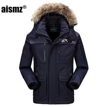 Aismz New Snow Winter 80% duck Down Jacket Men's Winter Coats Fur Collar Thick Windbreaker Jackets Men Parkas Warm Thick Coat