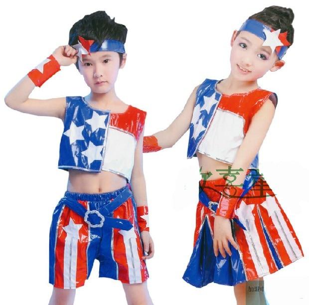 Vêtements pour enfants vêtements pour enfants 4th of juillet tenues USA  drapeau de danse filles costumes