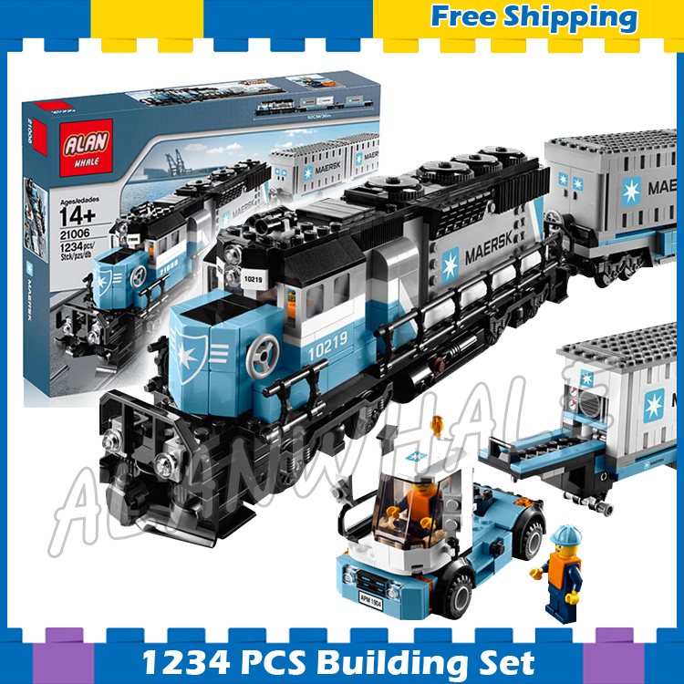 1234pcs Creator Maersk Trains Freight Cargo Locomotive 21006 Classical DIY Model Building Blocks Gifts Sets Compatible With lego casio efa 132pb 1a