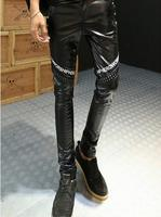 Spring Autumn Casual Pencil Trousers Teenage personality Rivet Sequined Black harem slim Faux Leather mens skinny pants