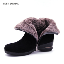 2018 Winter New Warm Wool Fur Ankle Boots Genuine Wool Full Grain Leather Long Plush Snow Boots Women High Quality Wedges Shoes zorssar 2018 new arrival warm plush snow boots women ankle boots high heel wedges platform boots autumn winter women shoes