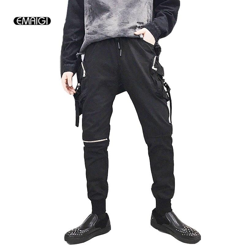 Для мужчин Уличная хип хоп панк готический модные повседневные штаны брюки карго мужской Slim Fit шаровары Jogger треники