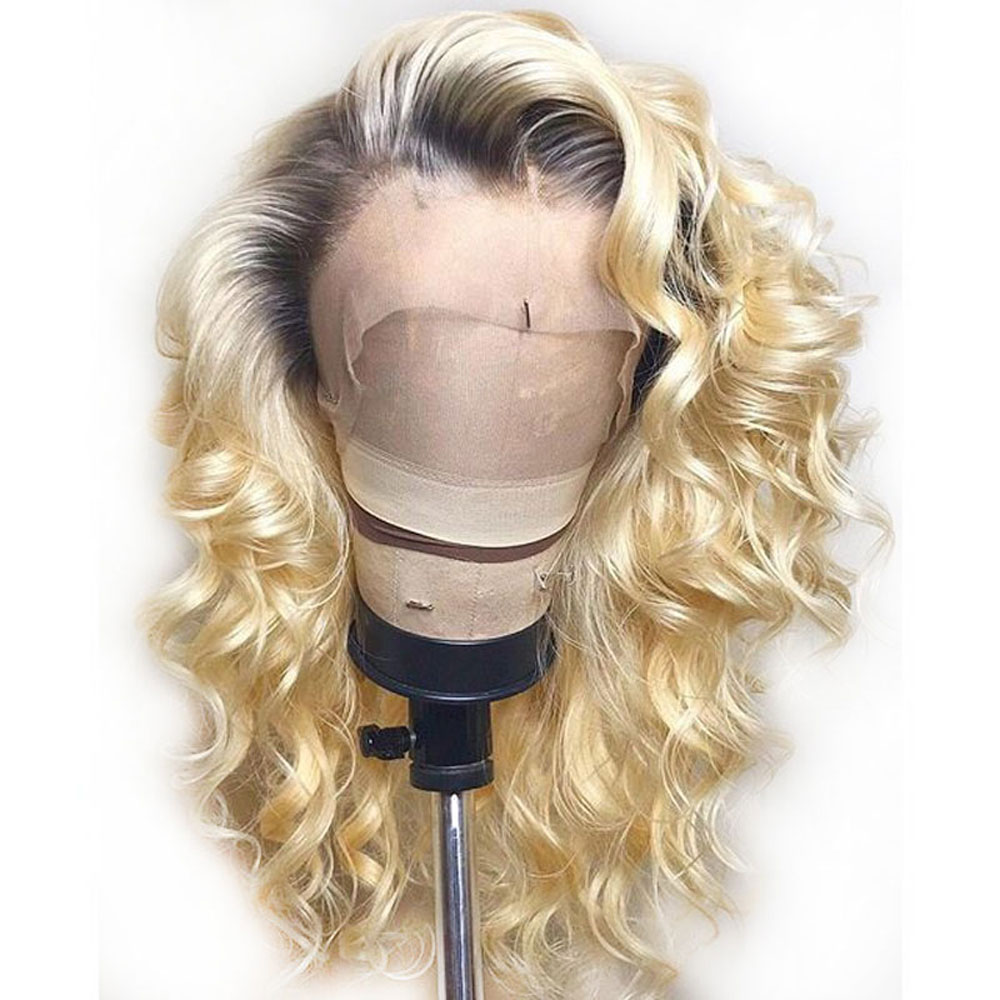 1b 613 Blond Lace Front Human Human Hair Wig With Baby Hair Pre Plucked Brazilian Remy Wavy Wig For Black Women