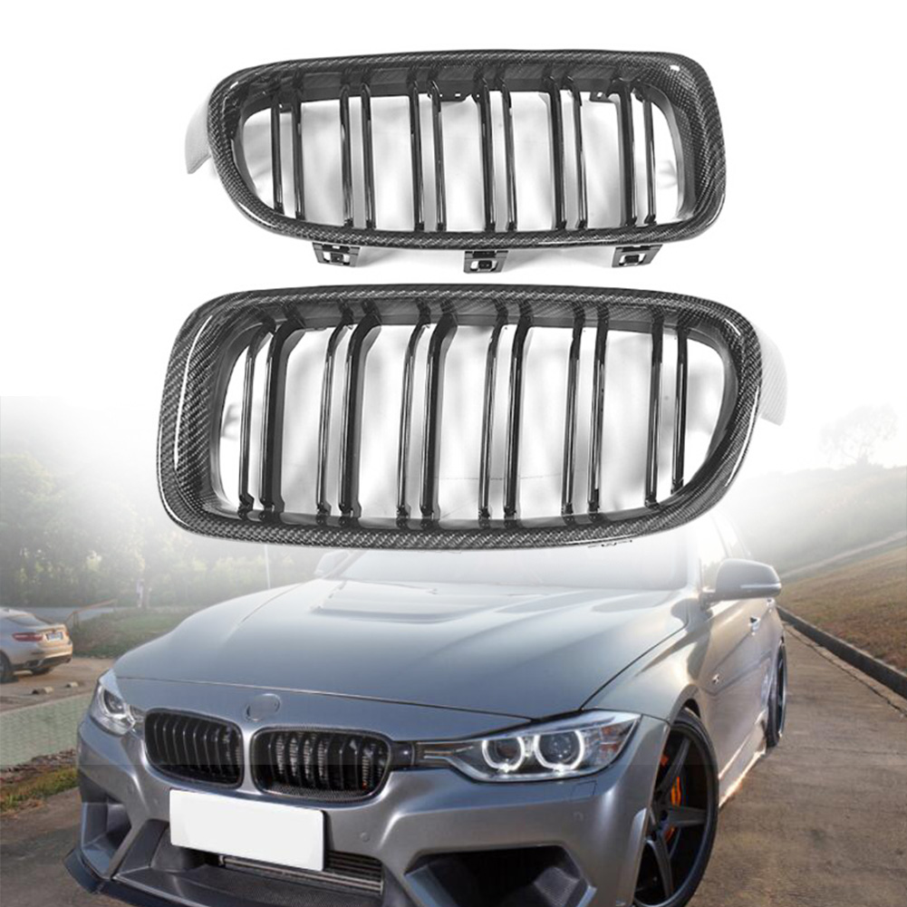 Front Grille Dual Slat Grill For BMW 3 Series F30 <font><b>F31</b></font> 318i 320i 328i 2012 2013 2014 2015 2016 2017 2018 Carbon Fiber Style image