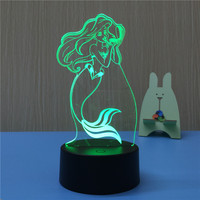 Mermaid 3D LED Night Light USB 7 Color Decoration Househould Lamp For Kids Night Light As
