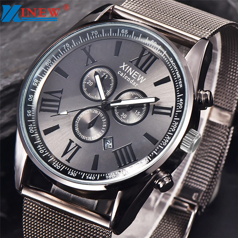 XINEW Watch Men Multifunction Day Date Analog Quartz Watch Stainless Steel Mesh Wrist Watches Gold Relogios Fast Shipping Feida starking creative watches men steel stainless black mesh band watch female quartz wrist watches with auto date display relogios