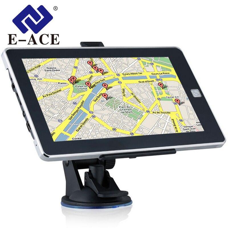 E-ACE 7 дюймов gps навигации 128 м + 8 ГБ 800 мГц Bluetooth HD Экран автомобиль грузовик Sat Nav навигатор европа Бесплатная Карты Россия Навител ...