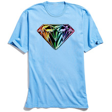 Punk Men 3D T-shirt Rainbow Diamond Short Sleeve Tops T Shirt Father Day O-Neck Cotton Mens Tshirts Special Superman Clothes