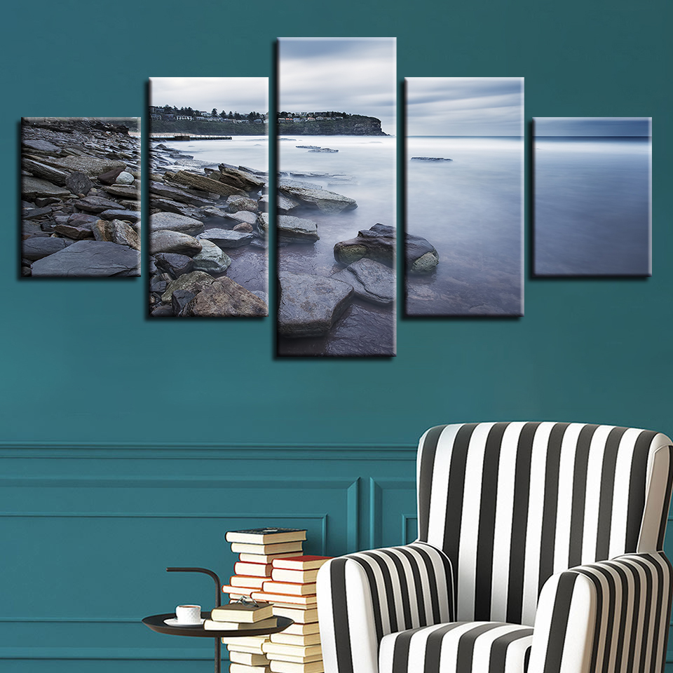 Home Living Room Wall Art Paintings Decor 5 Pieces HD Printing Stone Mountain Natural Scenery Canvas Picture Modular Poster Fram