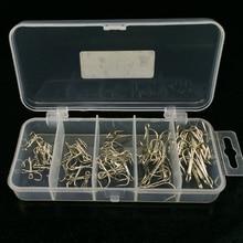 50 Pcs / Box Multiple Sizes High Carbon Steel Fishhook VMC Treble Hooks 2# 4# 6# 8#10# Sharp Barbed Stainless Fishing Hooks