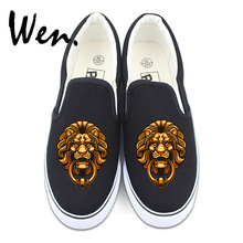 Wen Black Canvas Shoes Slip on Pumps Flats Original Design Chinese Element Lion Head Door Holder White Athletic Sneakers