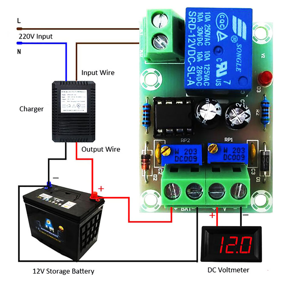 XH-M601 Power Regulator Battery Charging Control Board 12V Intelligent Charger Supply Panel Automatic Charging/Stop Power
