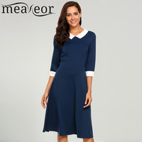 Meaneor Women S Dress Vintage Style Peter Pan Collar 3 4 Sleeve Party Swing Elegant Sexy