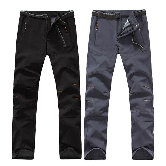 Nuevo Resistente Al Agua de Largo Pantalones de Trekking Al Aire Libre de Los Hombres Rompevientos Softshell Pantalones Forro Polar Caliente Pantalones Hombre