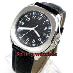 40mm Bliger sterylna czarna tarcza data szafirowe szkło automatyczny kwadratowy męski zegarek