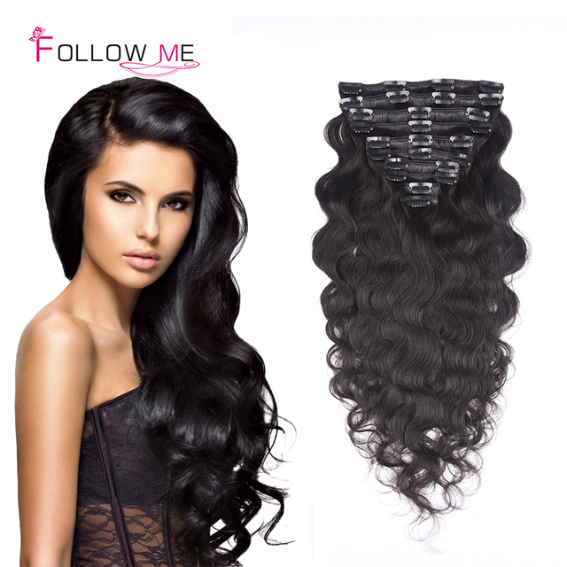 Brazilian Body Wave Clip In Hair Extensions Remy Clip In Body Wave