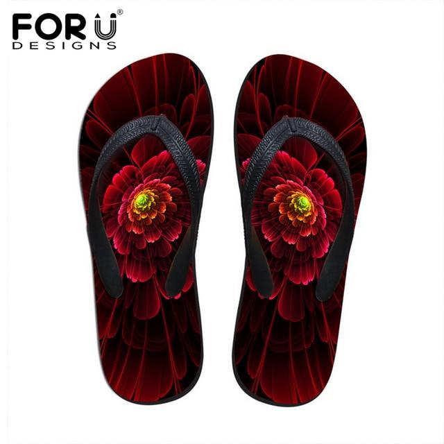 0430fe9b0ceb10 FORUDESIGNS Fashion Women Slippers Hot Sale Floral Flip Flops for Woman  Summer Beach Rubber Sandals Female Flipflops Flat Shoes