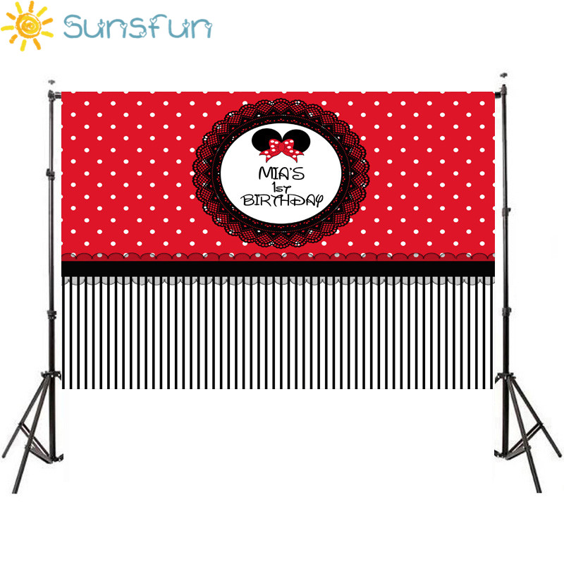 Sunsfun 7x5ft Princess Red Cartoon Happy Birthday Backdrop Children's Photographic Backgrounds Photocall Studio 220x150cm