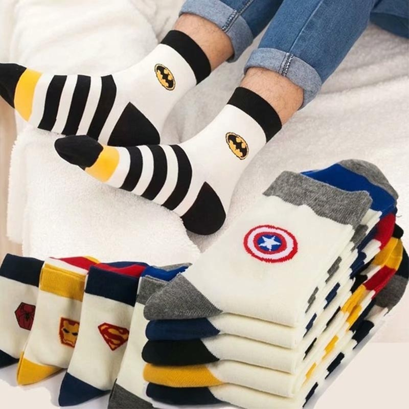 New Marvel Comics Heroes General Socks Cartoon Iron Man Captain America High Temperature Stitching Pattern Casual Men's Socks