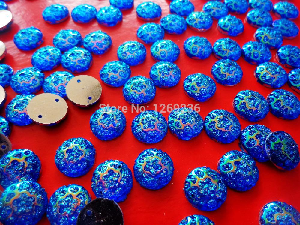 Free shipping Round 12mm 150pcs Blue AB colour sew on Resin crystal Rhinestones gemstones Accessores loose Beads