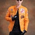 Ввс пилот кожаная куртка мужчины натуральная кожа коровы одежда толщиной воловьей кожи стоять воротник тонкий дизайн жакет