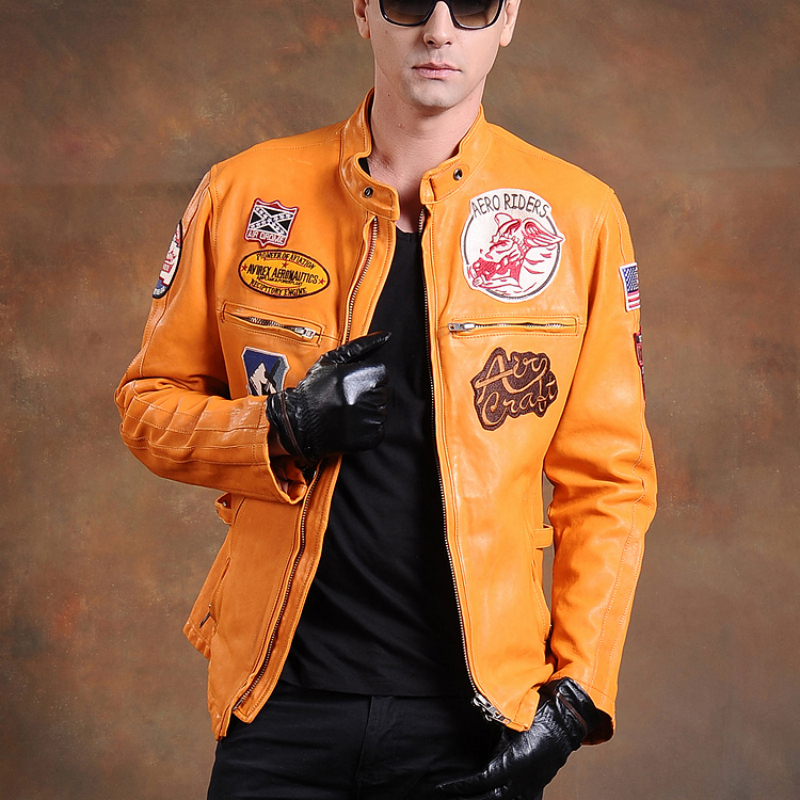 air force pilot leather jacket male genuine cow leather clothing thick cowhide stand collar slim design jacket