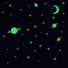 Brillo en las estrellas oscuras y los planetas para la decoración del techo decoración de la pared de la habitación de los niños pegatina luminosa calcomanía bebé dormitorio Deco pegatinas