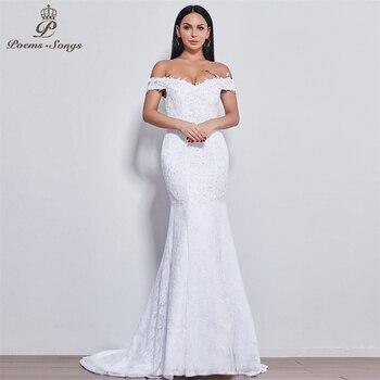 Poems Songs New style  beautiful flower lace wedding dress 2020 Vestido de noiva Mermaid robe mariage 520 - discount item  55% OFF Wedding Dresses